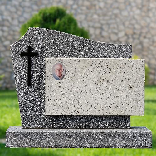 Voorbeeld grafmonument met gedenksteentje aluminium
