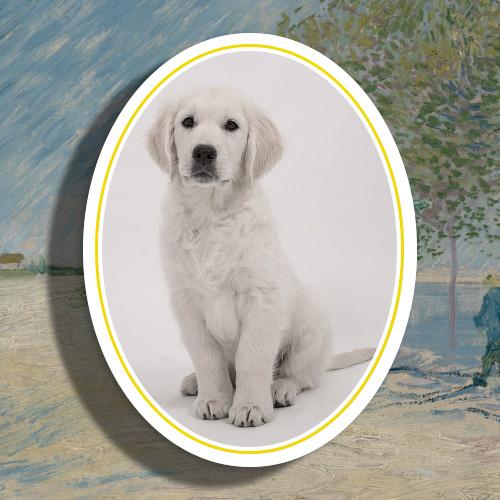 Huisdier gedenkteken hond porselein ovaal