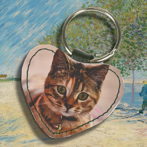 Huisdier gedenk sleutelhanger met leren hartje
