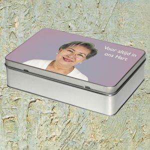 Bewaardoos aluminium met foto voor herinneringen in te bewaren