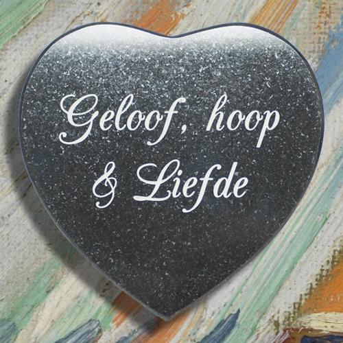 Geloof, hoop, liefde graniet hart