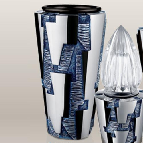 Blauw roestvrij staal grafvaas