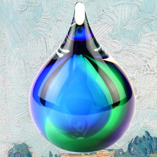 Mini urn van glas groen blauw
