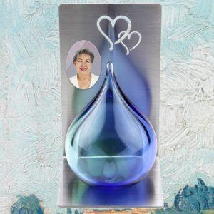 Mini urn glas traan met foto
