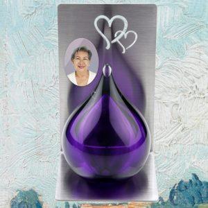 Mini urn glas met RVS staander en foto