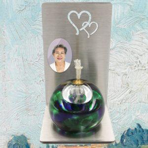 Minu urn met foto personaliseren RVS staander en olielamp