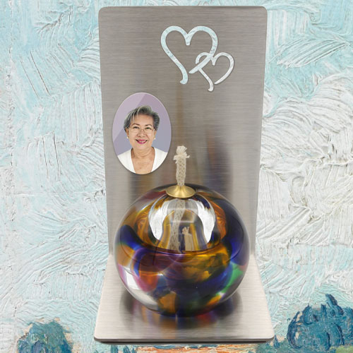 Mini urn olielamp met foto
