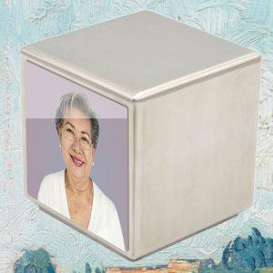 Mini urn RVS kubus met foto