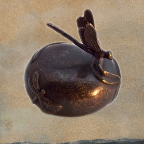 Mini urn van brons met een libelle