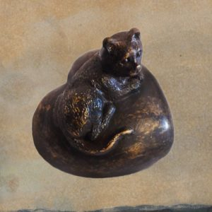 Mini urn van brons in hart vorm met Poes