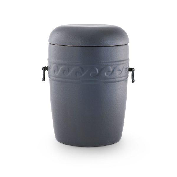 Urn keramiek zwart grijs met golf decoratie