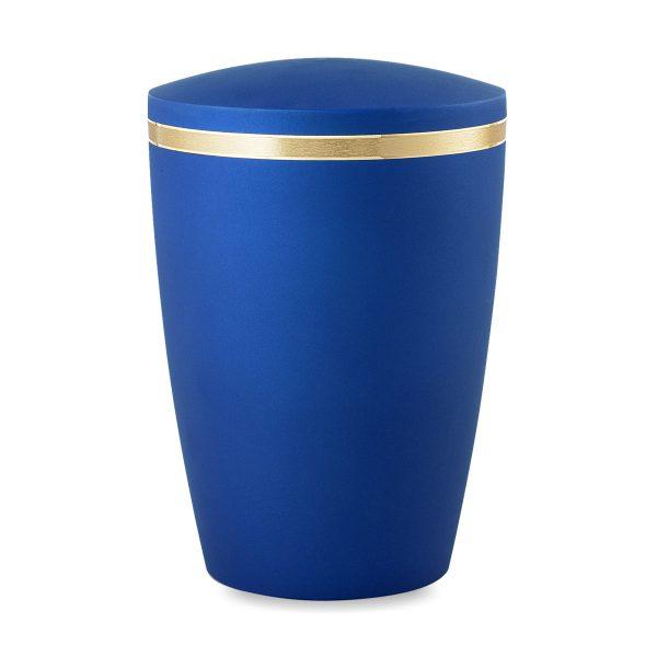 Biologische urn egaal blauw met gouden rand