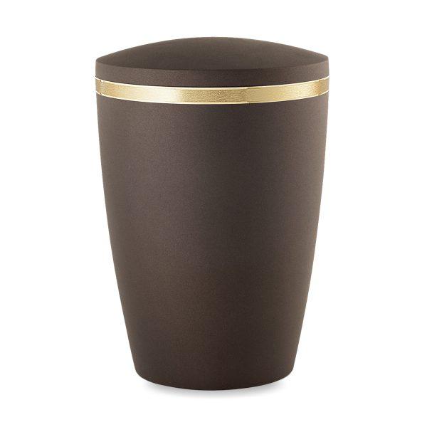 Biologische urn egaal bruin met gouden rand