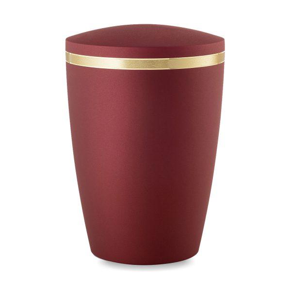 Biologische urn egaal rood met gouden rand