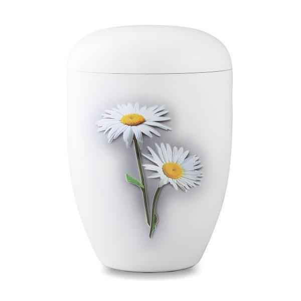 Wit biologische urn met bloem margriet