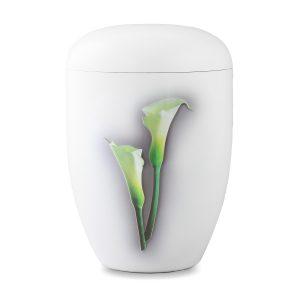 Biologische urn wit calla lellie