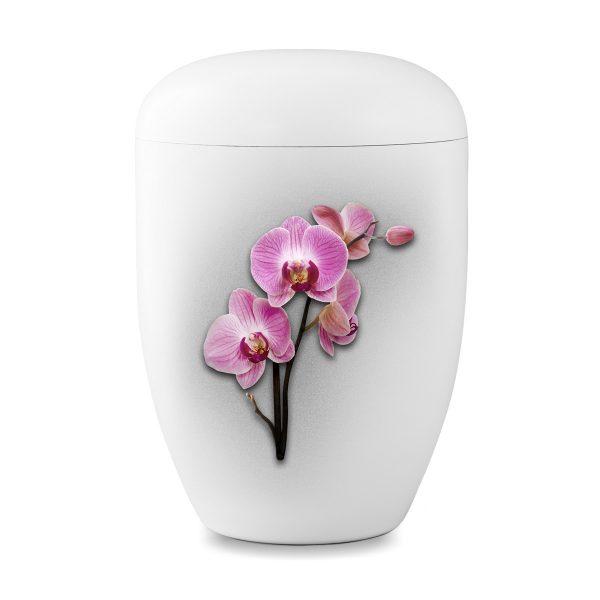 Biologische urn wit met orchidee