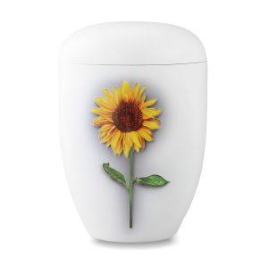 Wit biologische urn zonnebloem