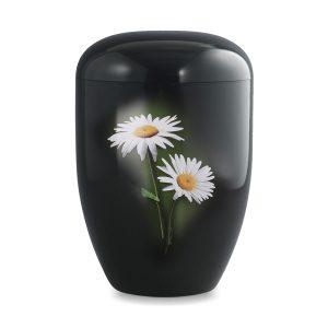 Biologische urn zwart met bloem margriet