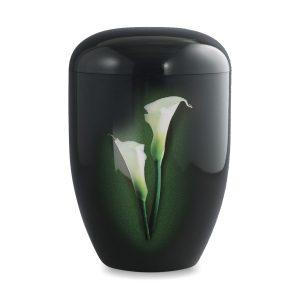 Zwart biologische urn witte calla lelie