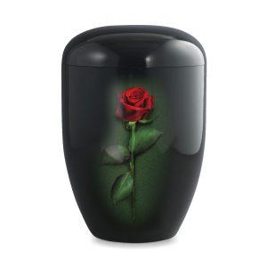 Biologische urn zwart met roos