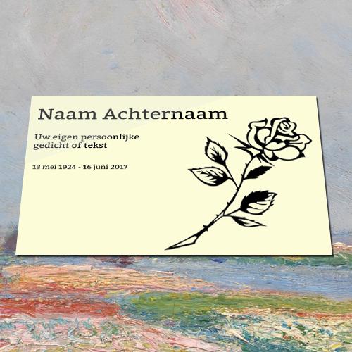 Gedenkbord aluminium met roos