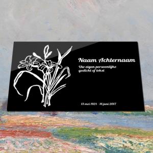 Grafbordje aluminium met tekst en illustratie van bloemen
