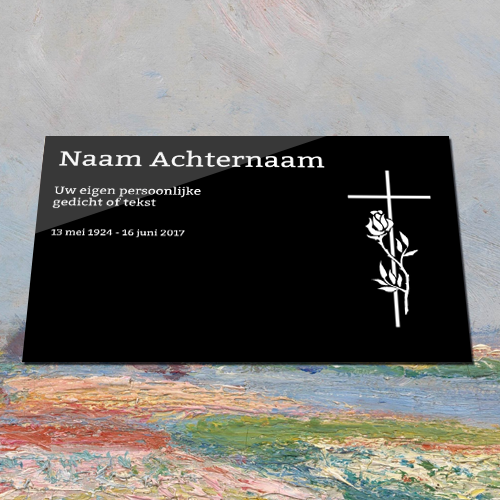 Gedenkplaat zwart aluminium met tekst en illustratie van kruis