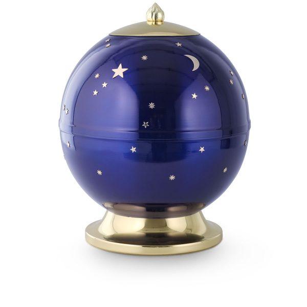 Urn blauw van metaal met maan en sterren