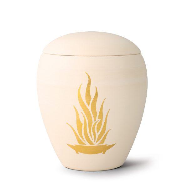 Urn porselein met gouden bloem vlam