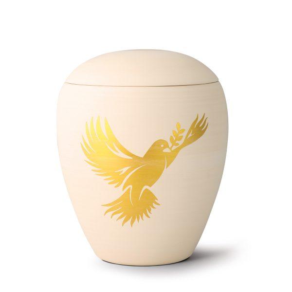 Urn porselein met gouden vogel duif