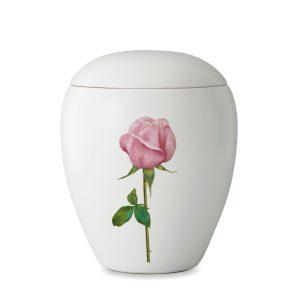 Urn wit van keramiek met foto afbeelding van een roze roos
