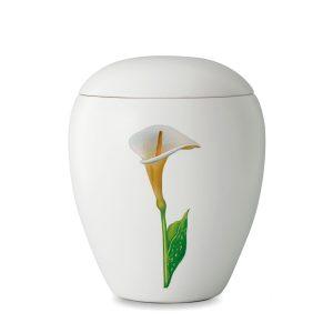 Urn wit van keramiek met afbeelding van lelie calla