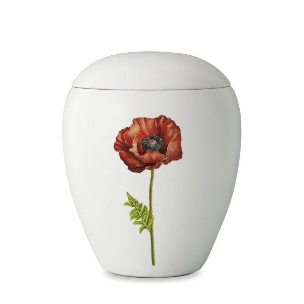 Urn wit van keramiek met afbeelding van klaproos