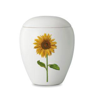 Urn wit van keramiek met afbeelding van zonnebloem