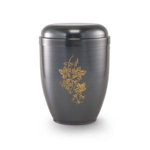 Urn zwart grijs met decoratie gouden bloem gemaakt van koper