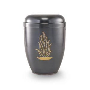 Urn zwart grijs met decoratie gouden vuur vlam gemaakt van koper
