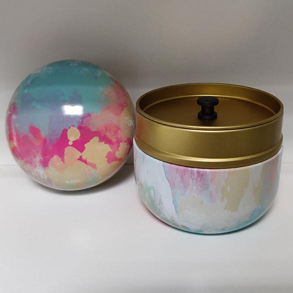 Mini Urn Aluminium Met Abstracte Kunst Kleuren Deksel. Goud Binnenkantjpg