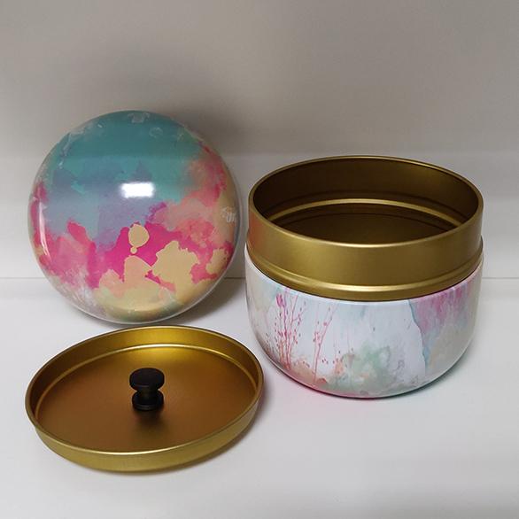 Mini Urn Aluminium Met Abstracte Kunst Kleuren Deksel