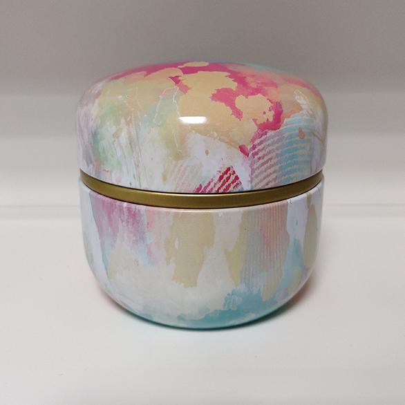 Mini Urn Rond Aluminium Met Abstracte Kunst Kleuren Deksel