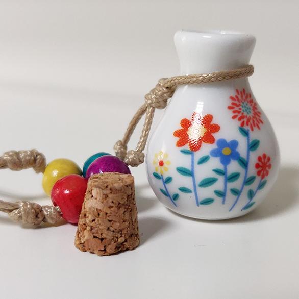 Mini Urn Van Porselein Met Print Bloemen
