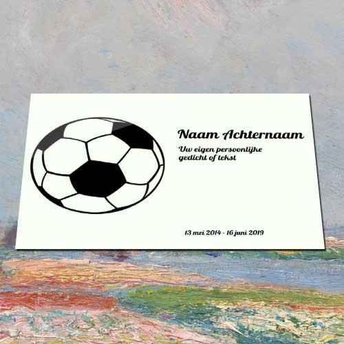 Gedenkplaat Aluminium Met Voetbal Voorzien Eigen Tekst