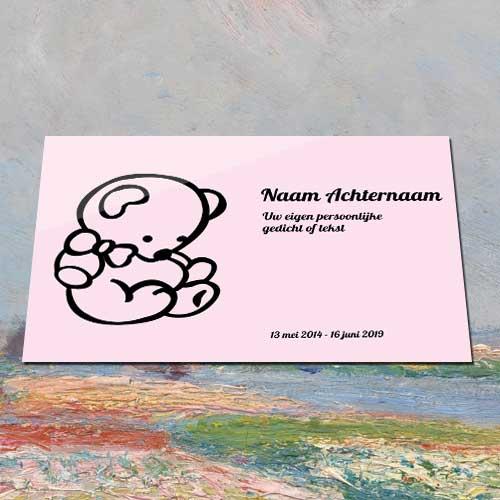 Gedenkplaatje Aluminium Met Tekst Voor Buiten Binnen Met Beertje