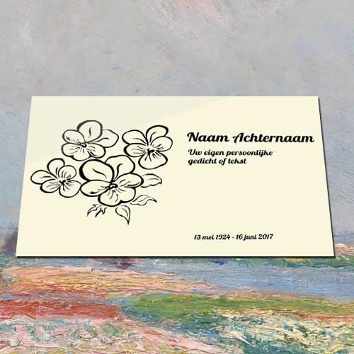 Gedenkteken Aluminium Met Tekst Bloemenbos Voor Buiten Binnen