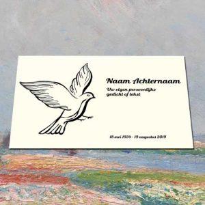 Gedenkteken Aluminium Met Tekst Voor Buiten Binnen Met Afbeedling Duif