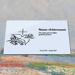 Gedenkteken Aluminium Met Tekst Voor Buiten Binnen Met Afbeedling Duif Kruis
