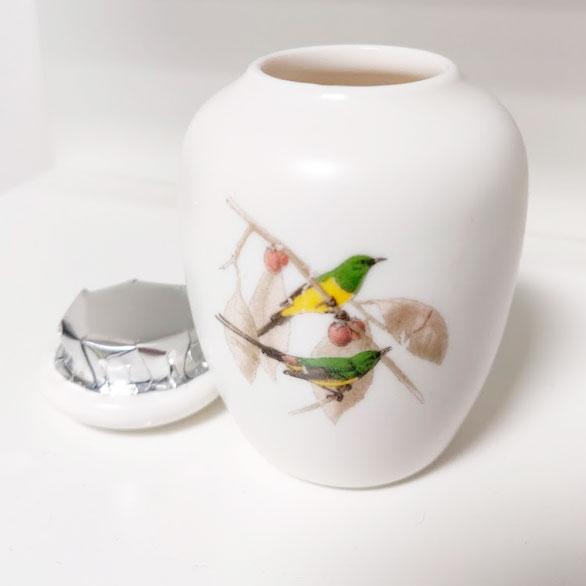 Kleine Mini Urn Van Keramiek Potje Voor As Met Vogels