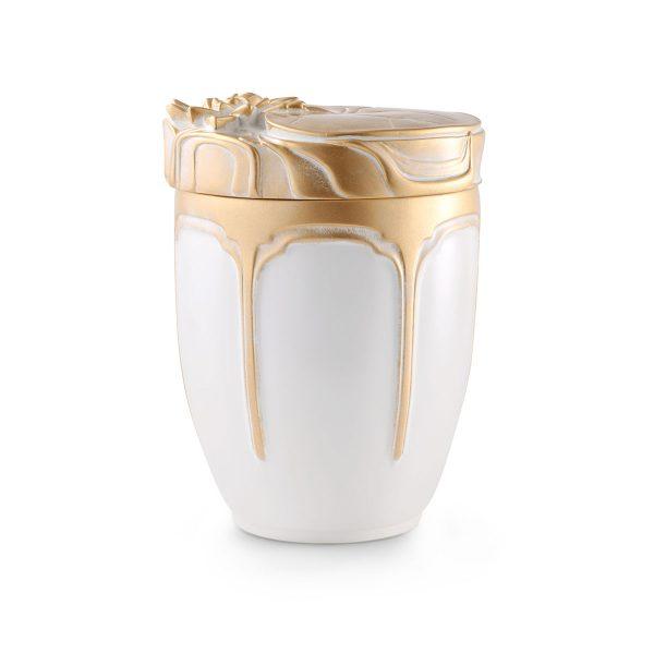 Urn Keramiek Wit Met Gouden Roos