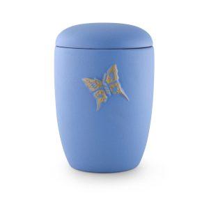 Urn Mat Blauw Met Vlinder Van Keramiek