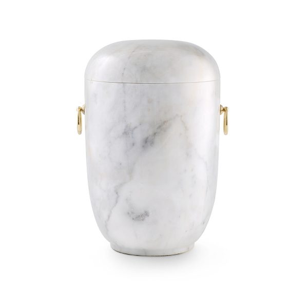 Urn Natuursteen Wit Gouden Handvatten